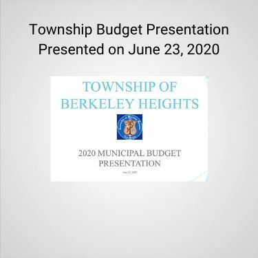 Township Budget Presentation Presented on June 23, 2020